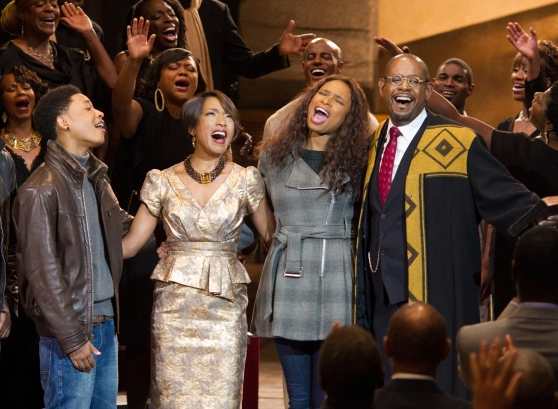 "Jacob Latimore as ""Langston,"" Angela Bassett as ""Aretha Cobbs,"" Jennifer Hudson as ""Naima"" and Forest Whitaker as ""Reverend Cornell Cobbs"" in BLACK NATIVITY."